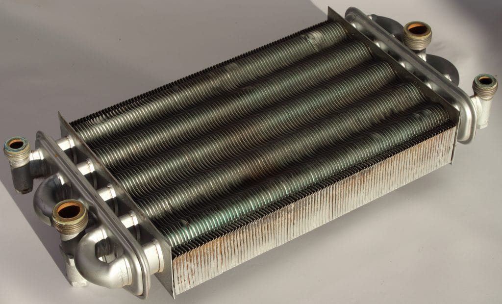 Copper bithermic (twin) heat exchanger.