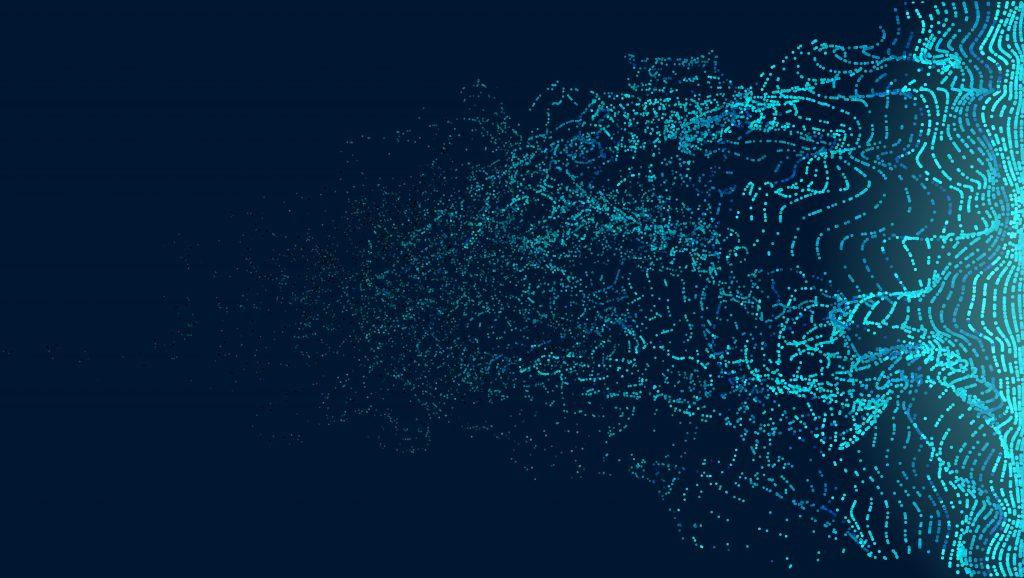 Particles transition wave vector background. Dissolve fade movement noise