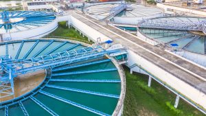 Aerial view recirculation solid contact clarifier sedimentation tank, Water treatment solution, Industrial water treatment.