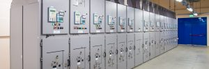 Electrical switch panel of switchgear room at power plant.