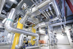 pipes and valves air condtion with heat exchanger in industrial plant