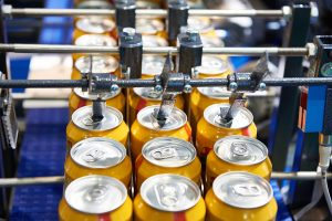 Beer can conveyor at the factory